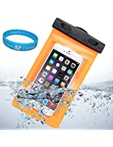 Sumaccn Underwater Waterproof Case Bag Pouch With Removable Armband For iPhone 6 / Motorola Moto X - 2nd Generation / Motorola DROID Turbo / Sony Xperia Z3v + SumacLife TM Wisdom Courage (Orange)