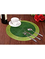 Set of 2 - Brown Green Beaded Placemat for Round Table - Handmade Glass Beaded Placemat - Dia 12 Inches