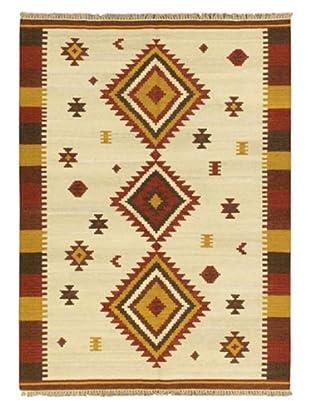 Hand Woven Kashkoli Wool Kilim, Cream, 5' 7