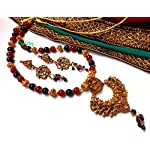 Red and green traditional necklace set with lakshmiji pendant