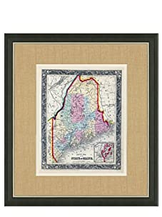 """Mitchell-Antique Map of Maine, 1860's-1870's, 21"""" x 23"""""""