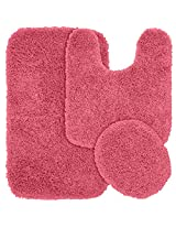 Garland Rug 3-Piece Jazz Shaggy Washable Nylon Bathroom Rug Set, Pink