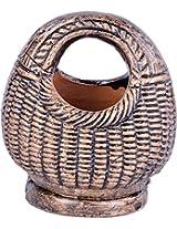 Gopal Gobinda Pataries Earthenware Basket Showpiece (11 cm x 9 cm x 12 cm, Gold)