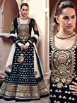 Black Floor Touch Embroidered Designer Anarkali Suit