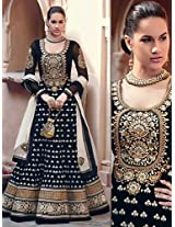 Black Embroidered Pure Georgette Semi Stitched Floor Length Anarkalis Salwar Suit