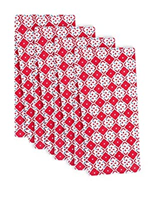 KAF Home Set of 4 Botanical Geo Napkins, Red