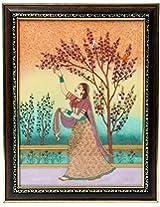 Fecom Lady Plucking Flowers Gemstone Painting (22.7 Cm X .2 Cm X 32.9 Cm, Brown)