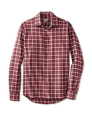 Mason's Men's Long Sleeve Woven Plaid Shirt (Raspberry)