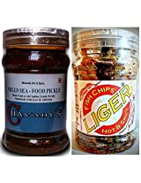 SeaFood Lover's Combo - CHAVADY's Mixed Sea-Food Pickle 300 Gms & LIGER Fish Chips 100 Gms
