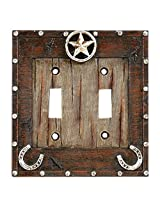 Western Star and HorseShoe Outlet Switch Plate Covers (Double Switch Plate) PatternName: Double Switch Plate