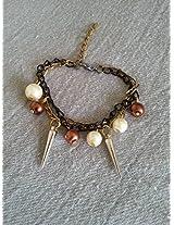 Knickknack Pearl n Spike Charmed Bracelet, Brown