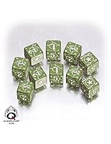 Q-Workshop: Five d6 Dice - Battle Dice - WW II D6 USA (American) Green & White