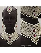 Royal Bridal Chocker Necklace Set with Pearls