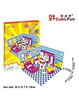 3 D Jigsaw Puzzle Honey Room Bedroom 3 D Puzzle P659h 58 Pieces Decorative Fashion Best Seller Cubic Fun Exiting Fun Educational Historic Playing Building Game Diy Holiday Kids Best Gift Toy Set