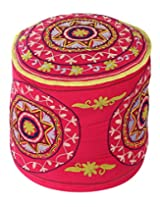 Decorative Round Magenta Ottoman Cotton Floral Embroidered Pouf Cover For Decor By Rajrang