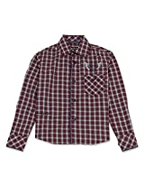 Full Sleeve Boys Check Shirt With Contrast Buttons Maroon