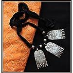 3 Elephant Pendant Thread Necklace - Black