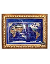 Unique Art 26-Inch Cross with Frame Bahama Blue Pearl Swirl Ocean Gemstone World Map with Frame