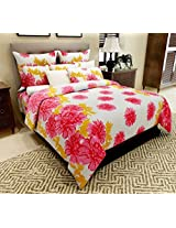 Home Candy 144 TC Red Floral Cotton Double Bed Sheet with 2 Pillow Covers