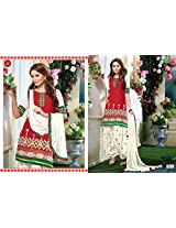 Fabboom New White & Red Colour Designer Cambric Cotton Patiyala Suit