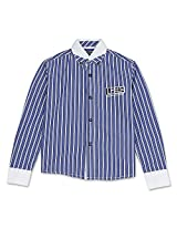Full Sleeve Button Down Striped Boys Shirt Navy