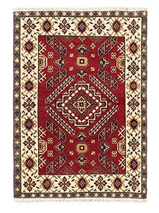Hand-Knotted Royal Kazak Rug, Dark Red, 4' 1