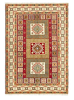 Hand-Knotted Royal Kazak Wool Rug, Cream/Dark Red, 5' 8