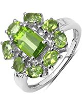 2.80CTW Genuine Peridot .925 Sterling Silver Floral Shape Ring