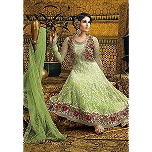 Utsav Fashion Embroidered Net Anarkali - Light Green