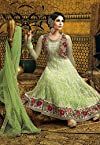 Utsav Fashion Embroidered Net Anarkali - Light Green