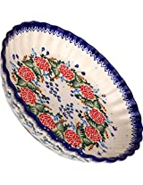 Polish Pottery Ceramika Boleslawiec-1212/280 Motif Pie Baker, Royal Blue Patterns, Small