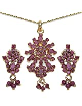 10.10 Grams Red Cubic Zirconia Gold Plated Brass Pendant Set