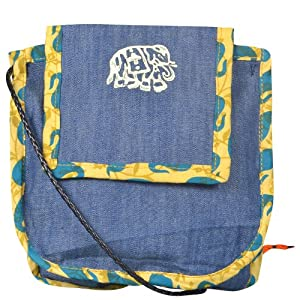 Paisley Twin Pocket Sling Bag (Blue)