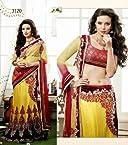 Refreshing Yellow Embroidered Net Bridal Lehenga Saree