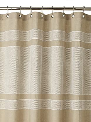Coyuchi Labyrinth Shower Curtain, Natural/White