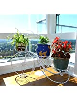 Vintage Parisian Style Tricycle 3 Tier White Metal Planter Display Stand / Flower Pot Holder / Plant Rack