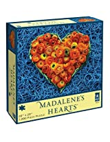 Madalene's Hearts Blue Bands and Orange Flowers Jigsaw Puzzle