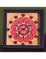 Footprints Forever Mandala Orange Clock