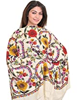 Exotic India Stole from Kashmir with Hand Embroidered Flowers - Color Vanilla IceColor Free Size