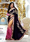 Heavy Embroidery Work Blue, Yellow & Pink Georgette Viscose With Sleeves & Raw Silk Blouse Half and Half Saree