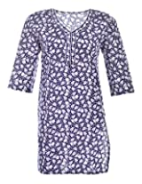 2Dots Women's Cotton Regular Fit Kurti (Blue, 38 Inches)