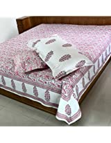 Hand Block Screen Print Indian Decor Cotton Bed Sheet Pillowcases 90X108 Inches