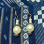 Teju's sRjana - white pearl earrings
