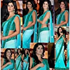 Katrina Kaif Georgette Green Zari & Lace Work Bollywood Style Saree