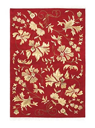 Hand-Knotted Aurora Rug, Dark Red, 4' 2