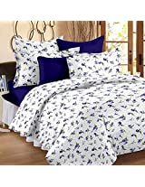 Story@Home 100% Cotton Floral Print Trendy Premium Double Bedsheets with 2 Pillow Covers, Purple
