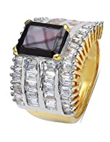 10.57 Grams Garnet & White Cubic Zirconia Gold Plated Brass Ring