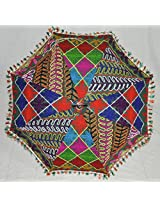 Lalhaveli Indian Handcrafted Embroidered Umbrella Cotton Parasol 24 X 28