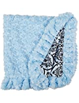 BESSIE AND BARNIE Pet Blanket, Small, Versailles Blue/Blue Sky with Ruffle