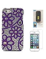 VanGoddy Flower Rhinestones Full Diamond Back Cover for Apple iPhone 5s (Purple) + 6000 mAh PowerBank + Matte Screen